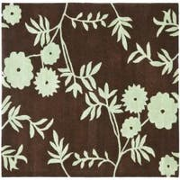 Safavieh Handmade New Zealand Wool Spring Brown/ Teal Rug - 6' x 6' Square