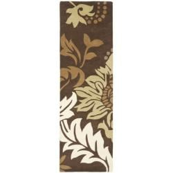 Safavieh Handmade Soho Bontanical Brown New Zealand Wool Rug (2'6 x 8') - 2'6 x 8' - Thumbnail 0