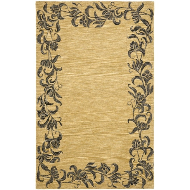 Safavieh Handmade New Zealand Wool Floral Border Gold Rug - 7'6 x 9'6