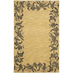 Safavieh Handmade New Zealand Wool Floral Border Gold Rug - 7'6 x 9'6 - Thumbnail 0