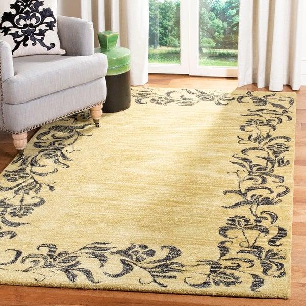 "Safavieh Handmade New Zealand Wool Floral Border Gold Rug - 7'6"" x 9'6"""
