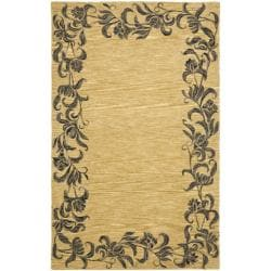 Safavieh Handmade New Zealand Wool Floral Border Gold Rug (5'x 8')