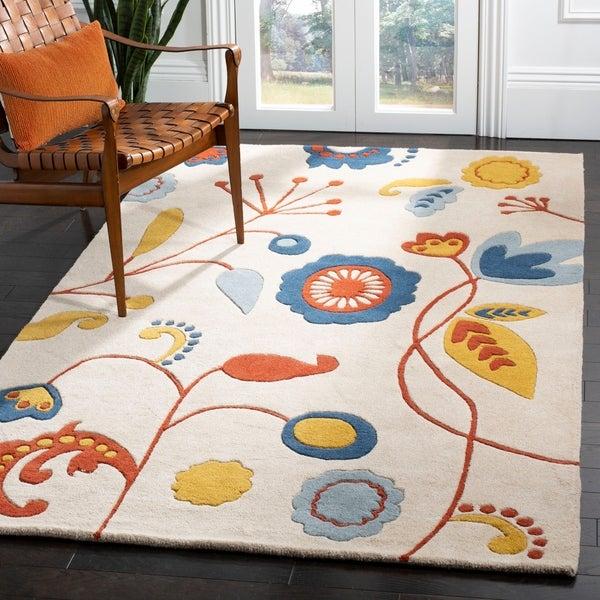 "Safavieh Handmade New Zealand Wool Bliss Beige Rug - 7'-6"" x 9'-6"""
