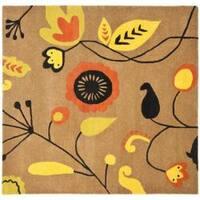 Safavieh Handmade New Zealand Wool Bliss Brown Rug (6' Square) - 6' Square