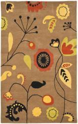 "Safavieh Handmade New Zealand Wool Bliss Brown Rug - 7'6"" x 9'6"" - Thumbnail 0"