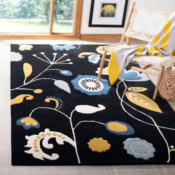 "Safavieh Handmade New Zealand Wool Bliss Black Rug - 7'-6"" x 9'-6"""