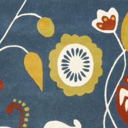Safavieh Handmade New Zealand Wool Bliss Dark Blue Rug (7'6 x 9'6)