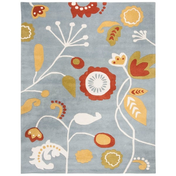 "Safavieh Handmade New Zealand Wool Bliss Light Blue Rug - 7'-6"" x 9'-6"""
