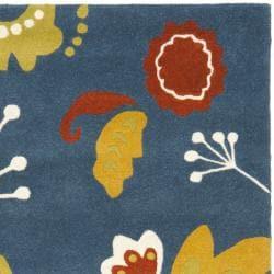 Safavieh Handmade New Zealand Wool Bliss Dark Blue Rug (5'x 8')