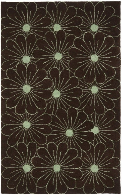Safavieh Handmade New Zealand Wool Daisies Brown Rug - 7'6 x 9'6