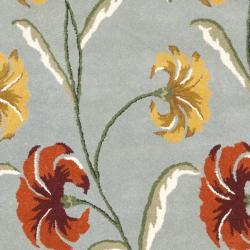 Safavieh Handmade New Zealand Wool Botanical Blue Rug (7'6 x 9'6)