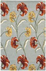 Safavieh Handmade New Zealand Wool Botanical Blue Rug - 7'6 x 9'6 - Thumbnail 0