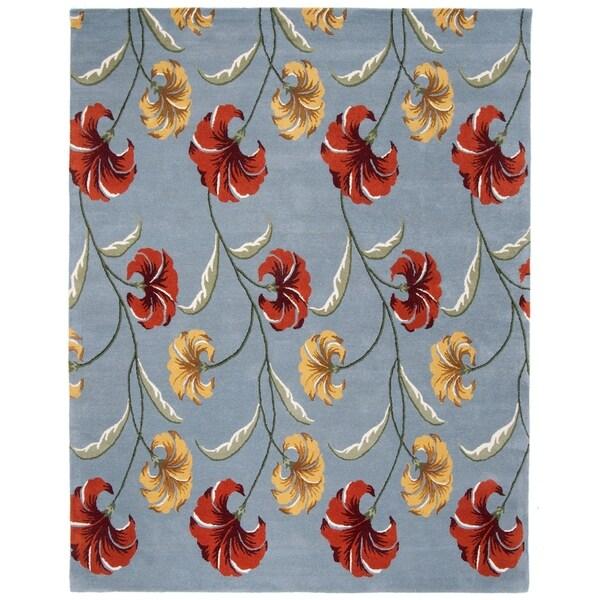 "Safavieh Handmade New Zealand Wool Botanical Blue Rug - 7'-6"" X 9'-6"""