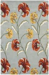 Safavieh Handmade New Zealand Wool Botanical Blue Rug - 3'6 x 5'6