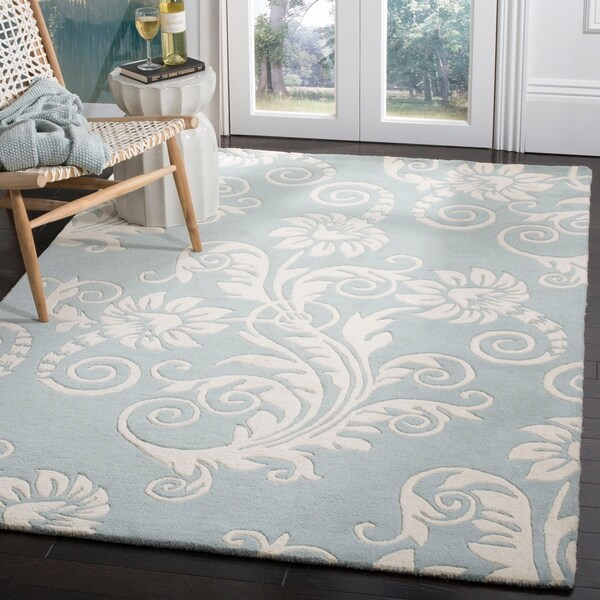 "Safavieh Handmade New Zealand Wool Paris Blue Rug - 7'6"" x 9'6"""
