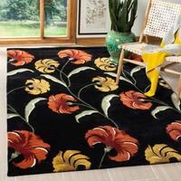 Safavieh Handmade New Zealand Wool Botanical Black Rug - 5' x 8'