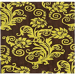 Safavieh Handmade New Zealand Wool Paris Brown/ Green Rug (6' Square)