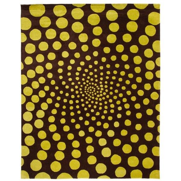 "Safavieh Handmade New Zealand Wool Eternity Brown Rug - 7'-6"" x 9'-6"""