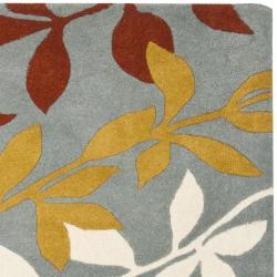 Safavieh Handmade New Zealand Wool Barber Blue Rug (6' Square) - Thumbnail 1