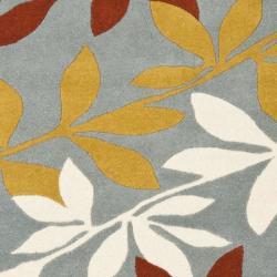 Safavieh Handmade New Zealand Wool Barber Blue Rug (6' Square) - Thumbnail 2
