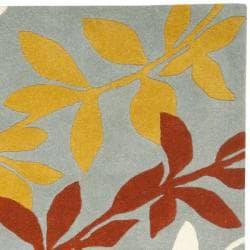 Safavieh Handmade New Zealand Wool Barber Blue Rug (3'6 x 5'6') - Thumbnail 1