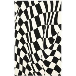Safavieh Handmade Soho Modern Abstract Black Wool Rug (5' x 8')
