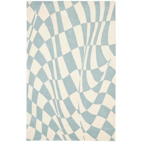 "Safavieh Handmade Soho Modern Abstract Blue Wool Rug - 7'-6"" x 9'-6"""