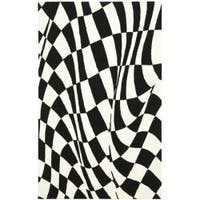Safavieh Handmade Soho Modern Abstract Black Wool Rug - 7'6 x 9'6