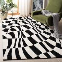 "Safavieh Handmade Soho Modern Abstract Black Wool Rug - 7'6"" x 9'6"""
