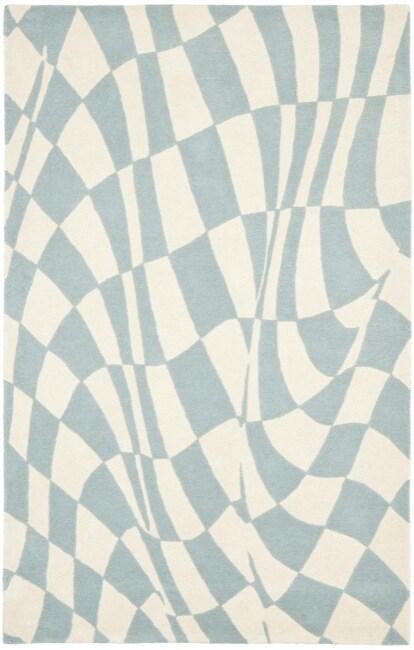 Safavieh Handmade Soho Modern Abstract Blue Wool Rug (3' 6 x 5' 6)