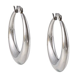 La Preciosa Stainless Steel Rounded Hoop Earrings