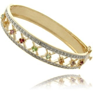 Dolce Giavonna 14k Gold Overlay Multi-gemstone and Diamond Accent Bracelet