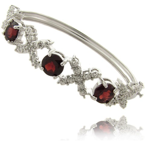 Dolce Giavonna Silverplated Garnet and Diamond Accent 'X' and 'O' Bangle Bracelet