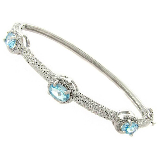 Dolce Giavonna Silverplated Blue Topaz and Diamond Accent Bangle Bracelet