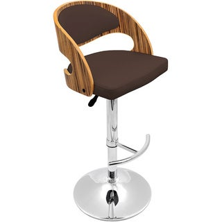 Pino Mid-century Modern Zebra Wood Adjustable Barstool