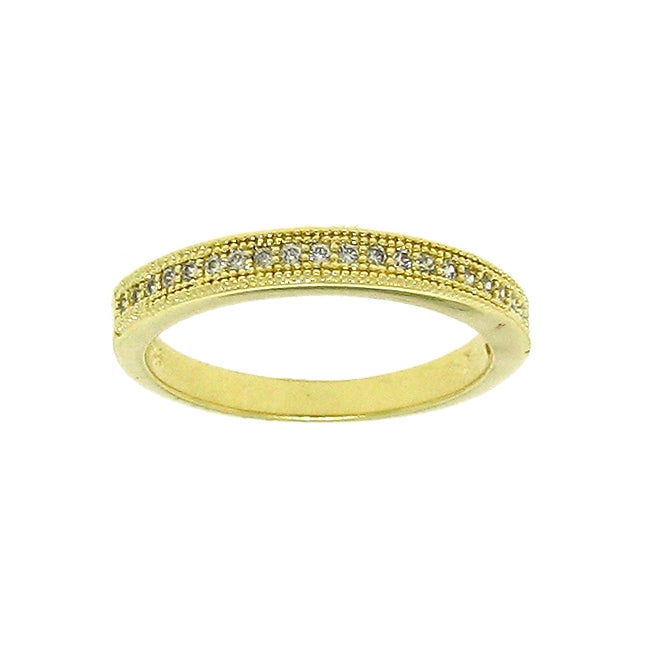 Gold over Silver Stackable Cubic Zirconia Eternity Band