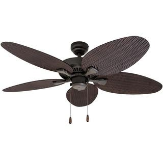 Ecosure Siesta Key 52 Inch Tropcial Bronze Indoor Outdoor Ceiling Fan With Wicker Blades