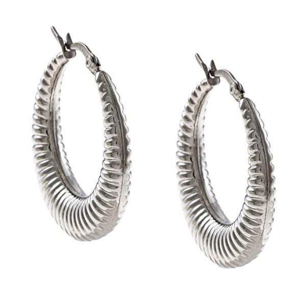 La Preciosa Stainless Steel Ribbed Design Hoop Earrings