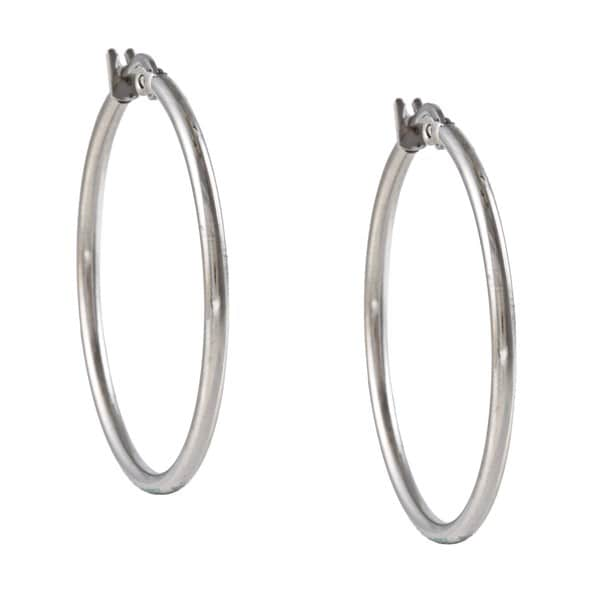 La Preciosa Stainless Steel 2mm Hoop Earrings