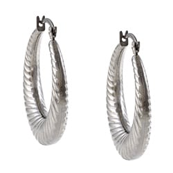La Preciosa Stainless Steel Twisted Hoop Earrings