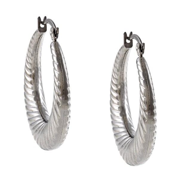 La Preciosa Stainless Steel Twisted Hoop Earrings