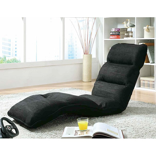 Black Microfiber EZ Lounger Click Clack Chair