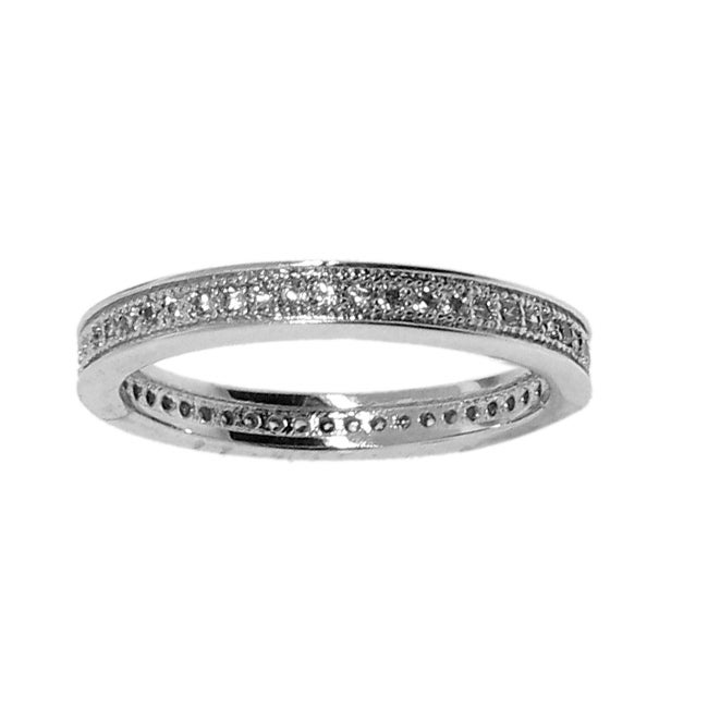 Sterling Silver Clear Stackable Cubic Zirconia Eternity Band