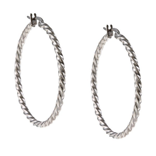 La Preciosa Stainless Steel 2mm Twisted Hoop Earrings. Opens flyout.