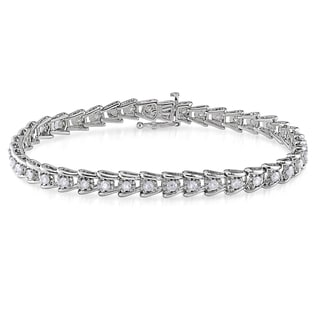 Miadora 2ct TDW Round-Cut Diamond Tennis Bracelet in Sterling Silver (G-H, I2-I3)
