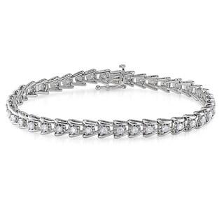 Miadora 2ct TDW Round-Cut Diamond Tennis Bracelet in Sterling Silver