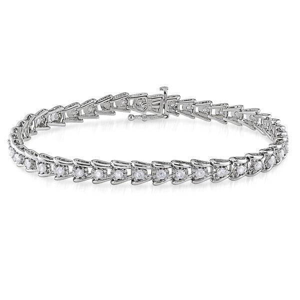 Miadora 2ct TDW Round-Cut Diamond Tennis Bracelet in Sterling Silver