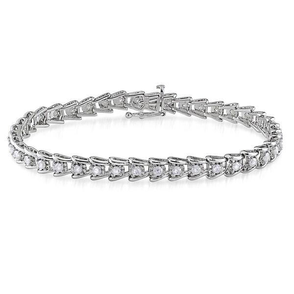 Miadora 2ct TDW Round-Cut Diamond Tennis Bracelet in Sterling Silver (G-H, I2-I3)
