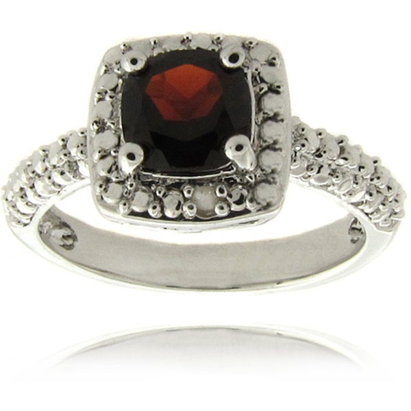 Dolce Giavonna Silverplated Garnet and Diamond Accent Square Ring