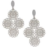 La Preciosa Stainless Steel Floral Dangle Earrings